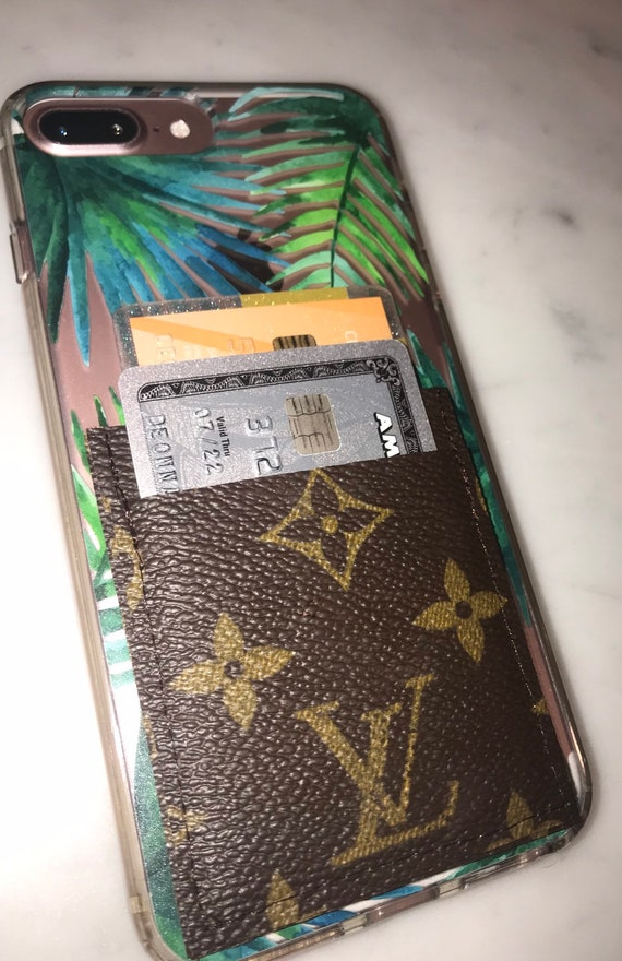 best sneakers c7ce4 41784 Repurposed Louis Vuitton cell phone wallet stick on 3m card wallet  Graduation gift Sweet 16 gift Birthday