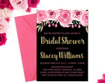 Pink and Gold Bridal Shower Invitation / Pink Black and Gold Bridal Shower / Pink Watercolor Bridal Shower Invite / PRINTABLE / 002