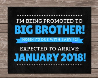 Pregnancy Announcement Printable / Promoted to Big Brother Sign / Printable Pregnancy Announcement / Big Brother Pregnancy Announcement