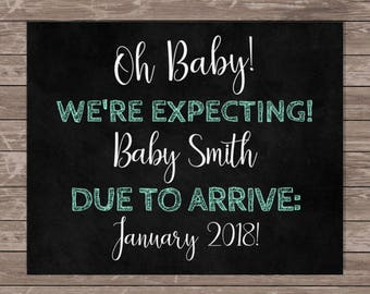 Pregnancy Announcement Printable / We're Expecting Sign / Printable Pregnancy Announcement / Surprise Pregnancy Announcement Sign