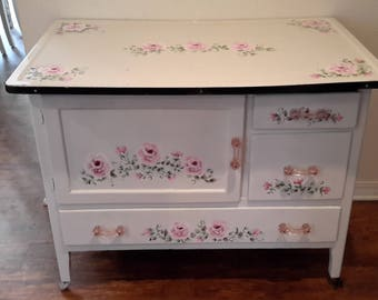 Vintage Enameled Top Handpainted Hp Shabby Chic Cabinet, Lush Pink Fluffy  Roses, Pink Glass Knobs, Cottage Chic Perfect. OOAK