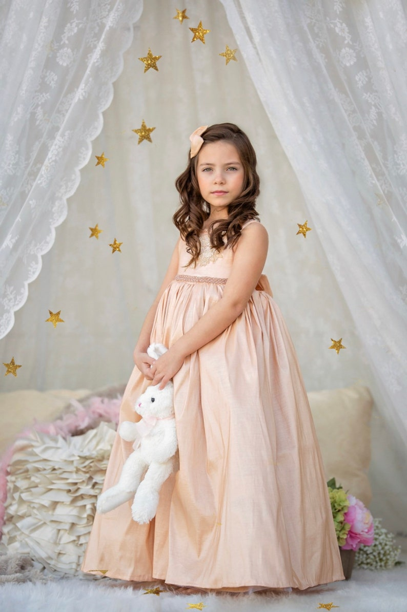 easter dress ivory flowergirl dress special occasion dress Champagne flowergirl dress couture dress pageant dress formal dress