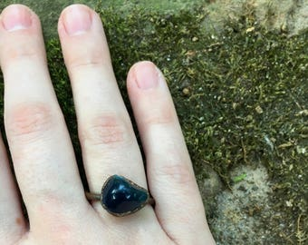 Blue Stone Ring, Size 8.75 Ring, Blue Stone Jewelry, Copper Ring, Electroformed Ring, Electroformed Jewelry, Stone Ring, Cute Ring,