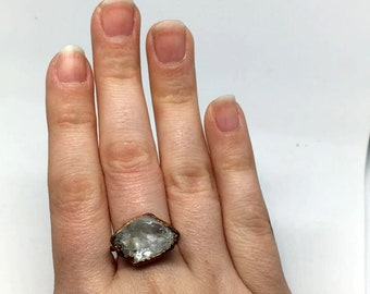 Quartz Crystal Ring, Size 6.75 ring, Quartz Ring, copper ring, quartz jewelry, gifts for her, electroformed crystal, gifts for her, ring