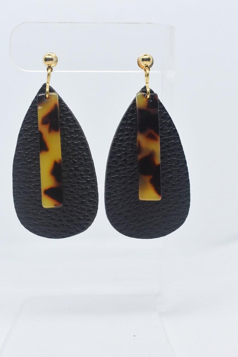 Black Leather Earrings Tortoise Shell Dangles, Teardrop Earrings Statement Earrings Leather Earrings Black Leather Teardrop Earrings