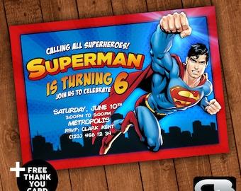 Superman invitation etsy superman invitation with free thank you card superman invite superman birthday party superman digital file download stopboris Choice Image
