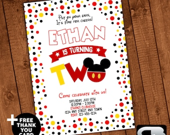 Mickey Mouse Invitation With FREE Thank You Card