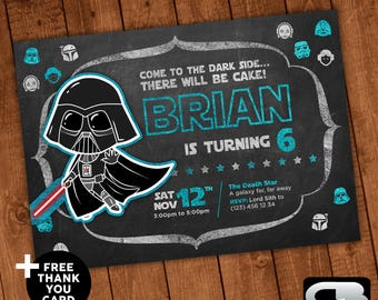 Star Wars Invitation With FREE Thank You Card