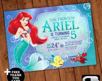 The Little Mermaid Invitation with FREE Thank You Card - Invite - Invitation - Birthday - Invite- Digital File Download