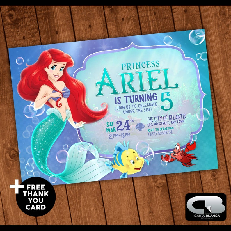 The Little Mermaid Invitation With FREE Thank You Card