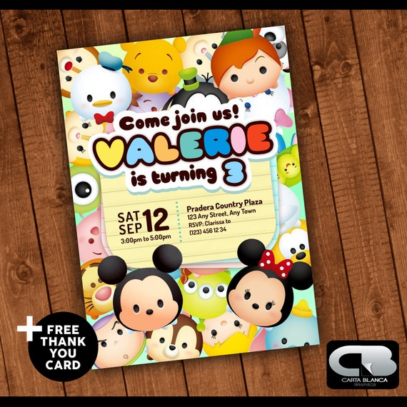 Disney Tsum Tsum Invitation With Free Thank You Card Disney Tsum Tsum Invite Birthday Invitation Birthday Party Digital File Download