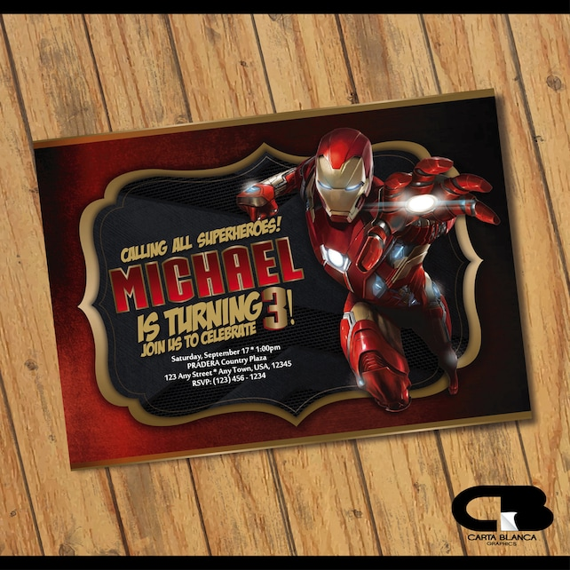 Iron Man Invitation Iron Man Invite Iron Man Birthday Invitation