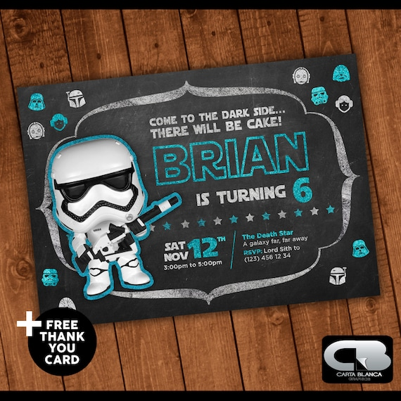 Star Wars Invitation With Free Thank You Card Star Wars Invite Star Wars Birthday Invitation Birthday Party Digital File Download