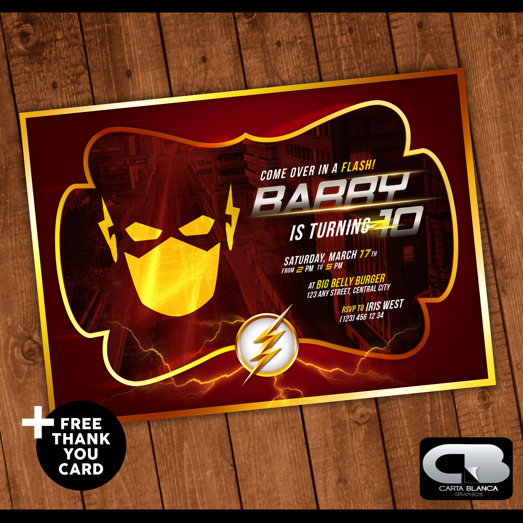 The Flash Invitation With FREE Thank You Card Invite