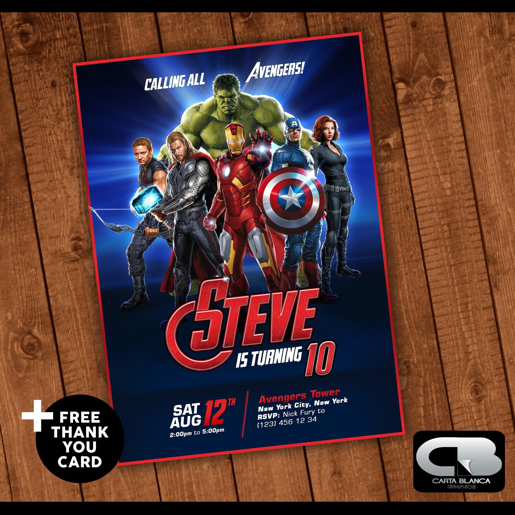Avengers Invitation Avengers Invite Avengers Birthday Etsy