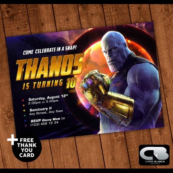 Avengers Infinity Guerra Thanos Invitación Con Tarjeta De Agradecimiento Gratis Vengadores Cumpleaños Invitar Vengadores Fiesta De Cumpleaños