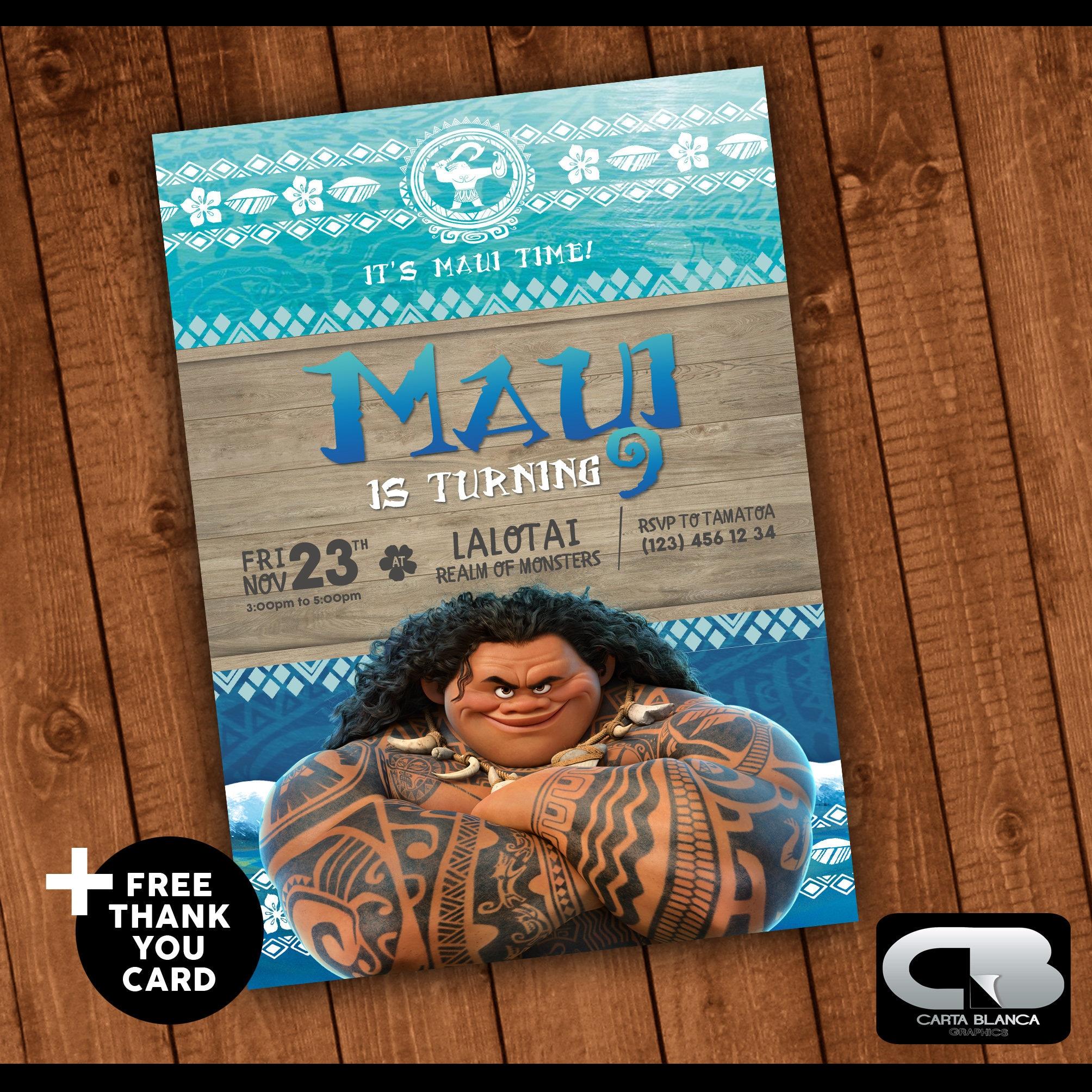 Maui Invitation With Free Thank You Card Maui Invite Moana Etsy