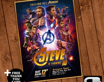 Avengers Infinity War Invitation with FREE Thank You Card - Avengers Birthday Invite - Avengers Birthday Party - Digital File Download