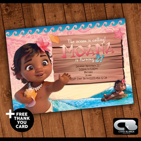 Moana Invitacion Con Tarjeta De Agradecimiento Gratis Moana Invite Moana Invitation Moana Birthday Party Digital File Download