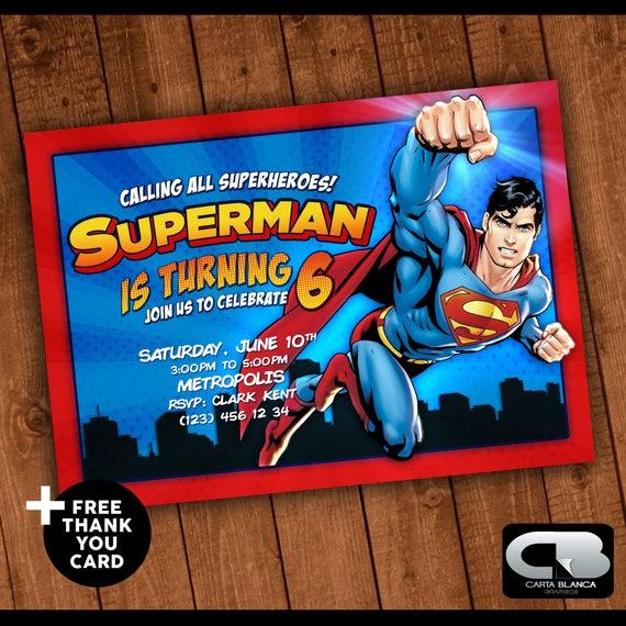 Superman Invitacion Con Tarjeta De Agradecimiento Gratis Digital Descarga Cumpleaños Dc Heroes