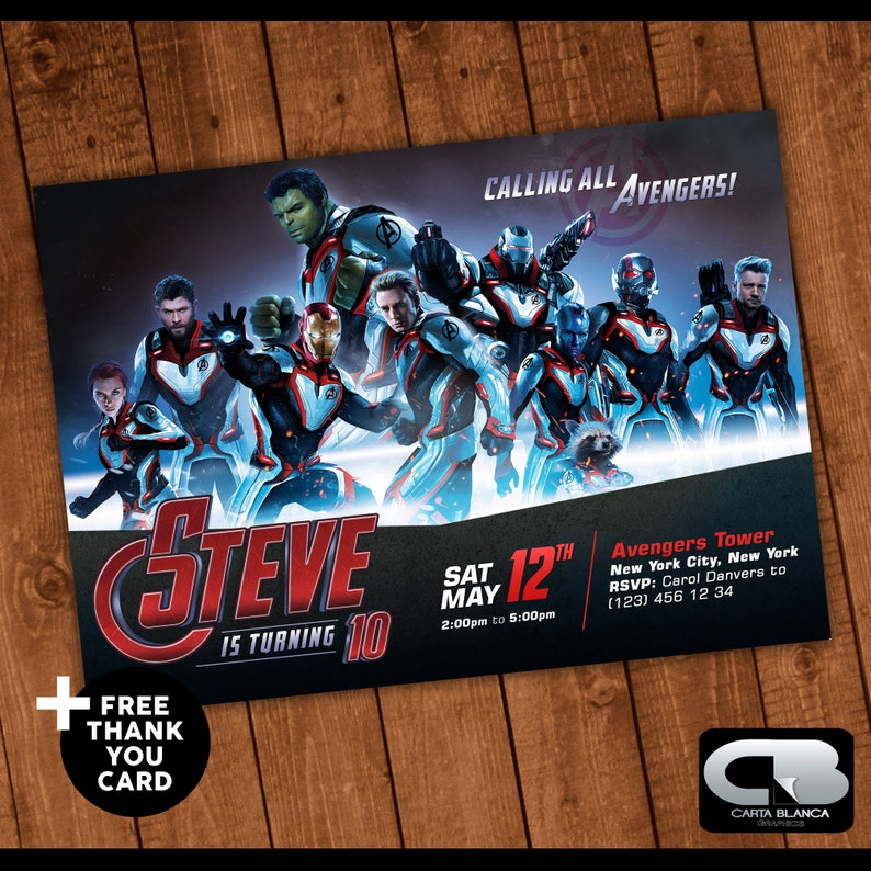 Avengers Endgame Invitation With Free Thank You Card Avengers Infinity War Birthday Invite Birthday Party Digital File Download