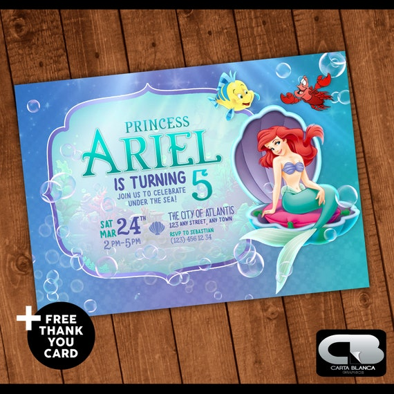 The Little Mermaid Invitation With Free Thank You Card Etsy