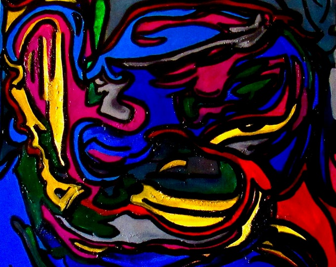 "Abstract Painting ""Many Faces"""