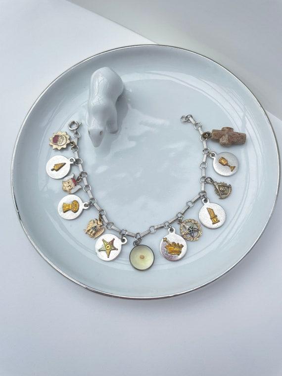 Vintage Masonic charm bracelet   charm bracelet  … - image 1