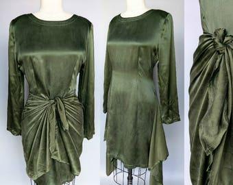 olives / 90s olive green silk tie front dress / 8 10 medium