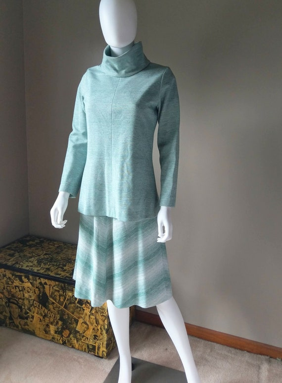 sage   1970s green two piece sweater dress   knit… - image 4