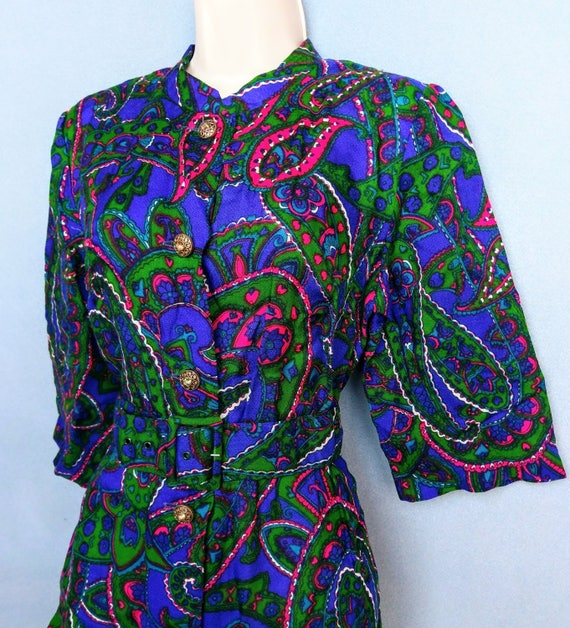 rubber soul | 1960s psychedelic paisley print wid… - image 3