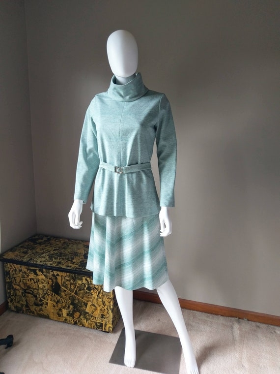 sage   1970s green two piece sweater dress   knit… - image 9