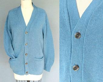 ol' blue eyes / 1970s blue pure wool grandpa cardigan sweater / small - medium