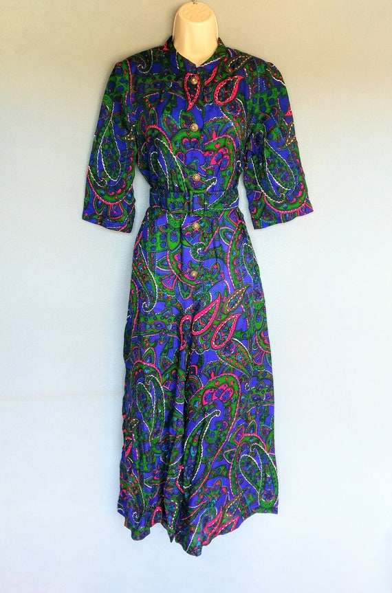 rubber soul | 1960s psychedelic paisley print wid… - image 2
