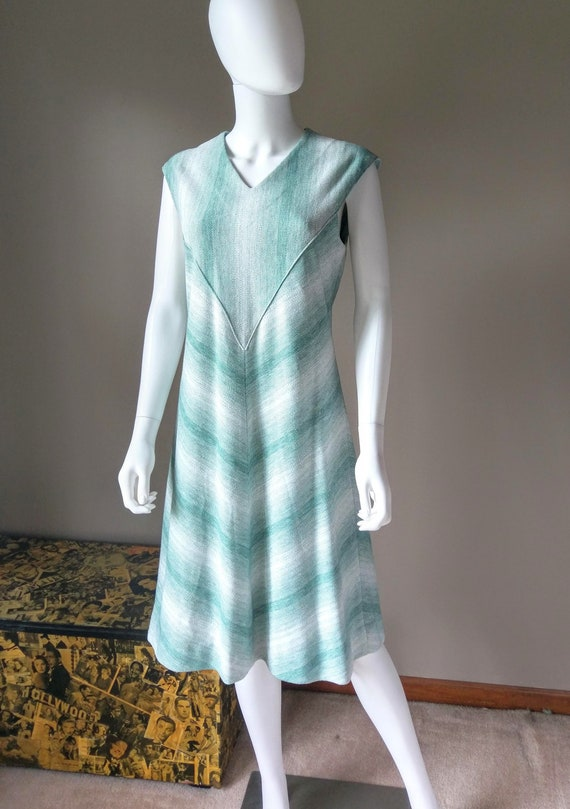 sage   1970s green two piece sweater dress   knit… - image 2