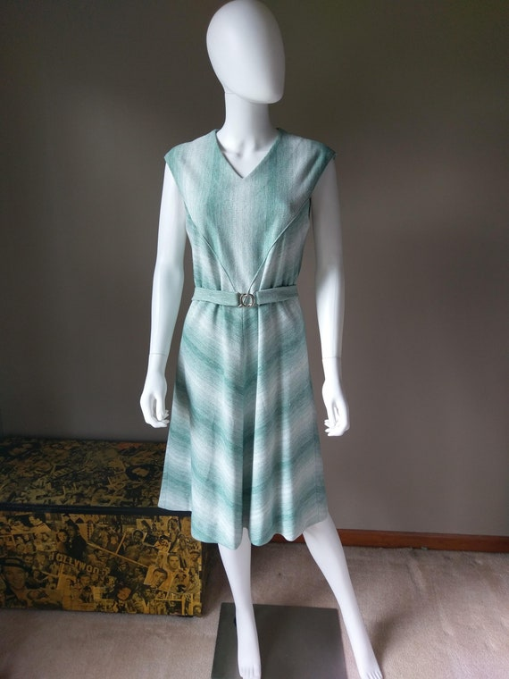 sage   1970s green two piece sweater dress   knit… - image 3