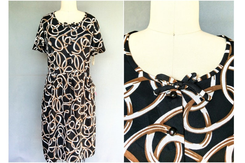 linking up | 1960s nylon print day dress deadstock with tags | 18 20 1x 2x