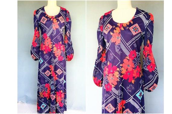 pastiche | 1970s purple floral long sleeved maxi d