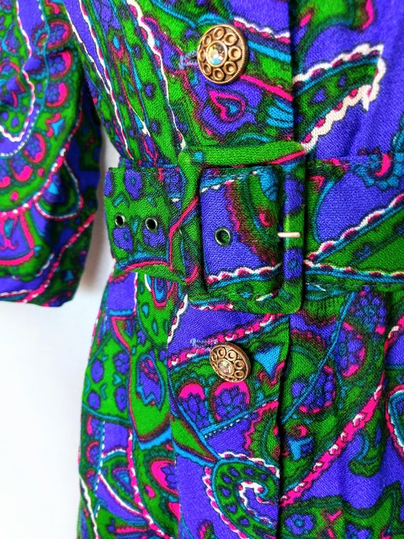 rubber soul | 1960s psychedelic paisley print wid… - image 5