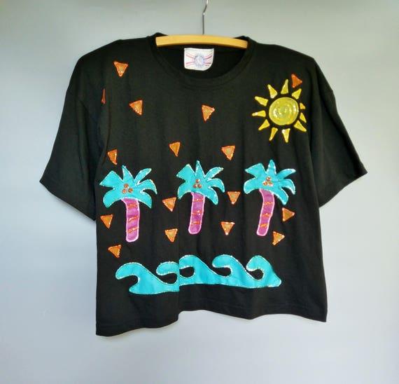 Puffy Paint 90s Handpainted Black T Shirt Tropical Glitter Etsy