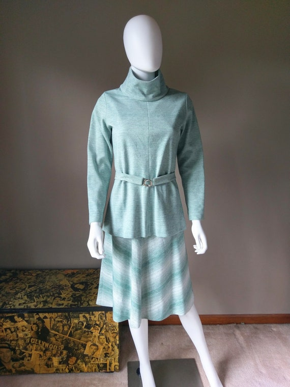 sage   1970s green two piece sweater dress   knit… - image 5