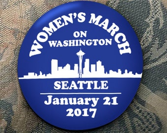 WOMEN'S MARCH on Washington Seattle supporters January 21 2017 election trump clinton blue