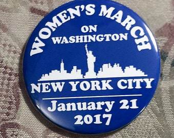 WOMEN'S MARCH on Washington New York City supporters January 21 2017 election trump clinton blue NYC