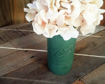 Green Mason Jar - Rustic Home Decor - Rustic Mason Jar Vase - Mason Jar Wedding - Mason Jar Baby Shower
