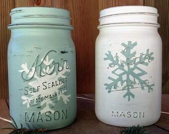 Snowflake Mason Jar - Rustic Winter Decor - Christmas Mason Jar Decor - Rustic Home Decor - Christmas Wedding - Christmas Baby Shower
