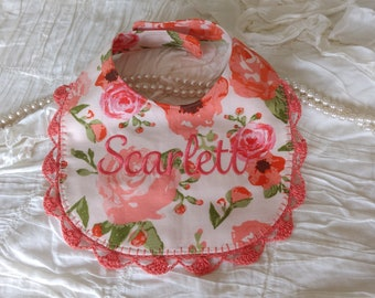 Personalized Monogram Name Baby Girl Reversible Bib Embrioder Crochet Coral Peach Poppy Poppies Rose Roses Boho Bohemian Shabby Chic Gift