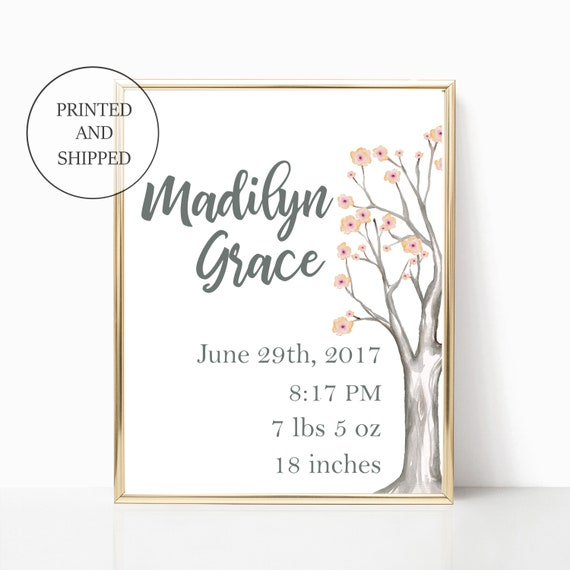 Newborn Baby Stats Nursery Tree Forest Flower Custom Decor Wall Art Birth Announcement Prints Woodland Print Unframed Framed Woods Floral