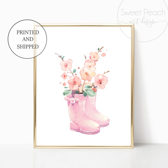 Pink Rainboot Girl Nursery Decor Wall Art Print Set Mint Flower Floral Matching Sets of 3 Girl Set Flower Bouquet Basket Whimsical Rainbow