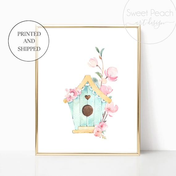 Bird House Girl Nursery Decor Wall Art Print Set Mint Flower Floral Matching Sets of 3 Girl Set Flower Bouquet Basket Whimsical Birdhouse