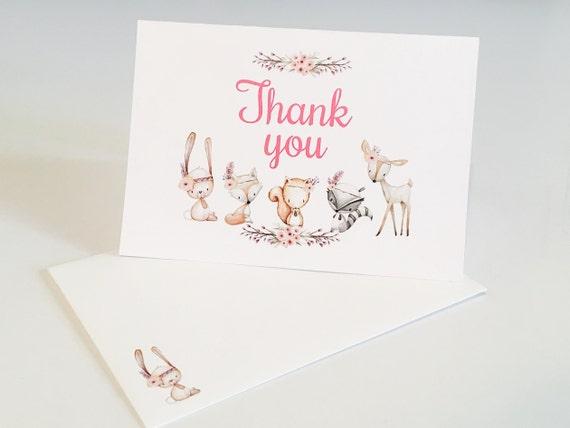 Printed Thank You Cards Woodland Baby Shower Cards Girl Nursery Fox Animal Wall Art Prints Set Animal Little Boy Girls Woodland Theme Set